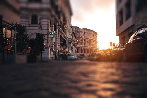 Italian Colosseo in Central Rome at sunset stock photo