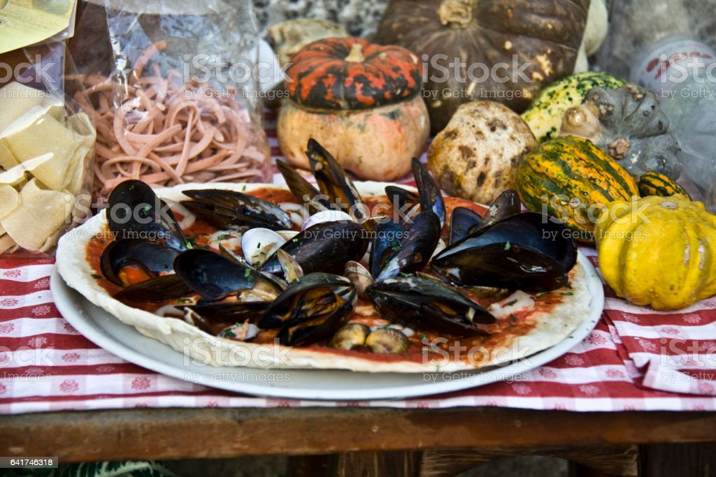 Italian cooking, mussle and clams stock photo