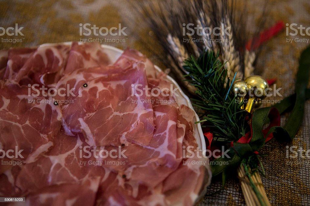 Italian coppa antipasto stock photo
