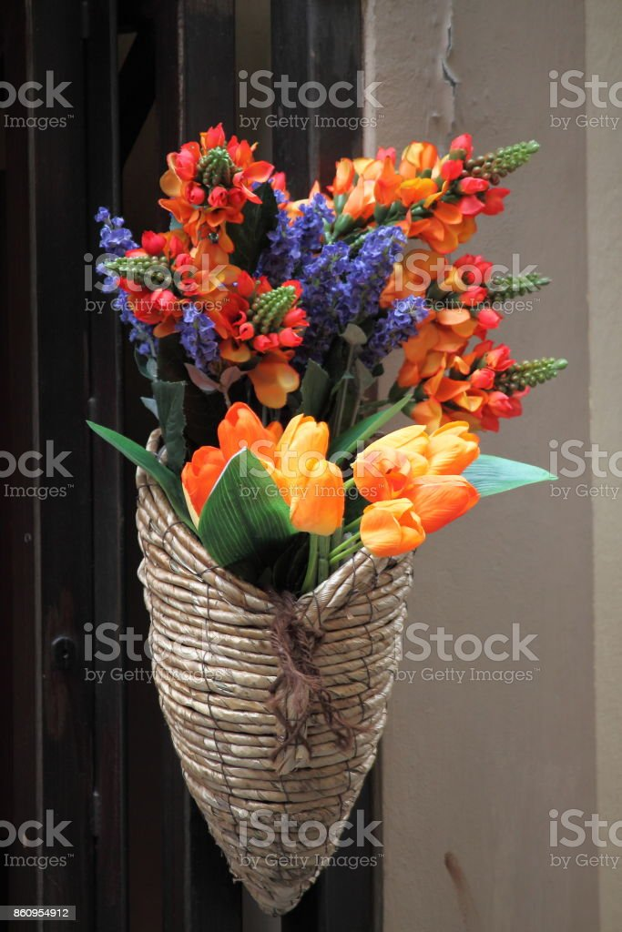 Italian cornucopia with flowers on the streets of Florence stock photo