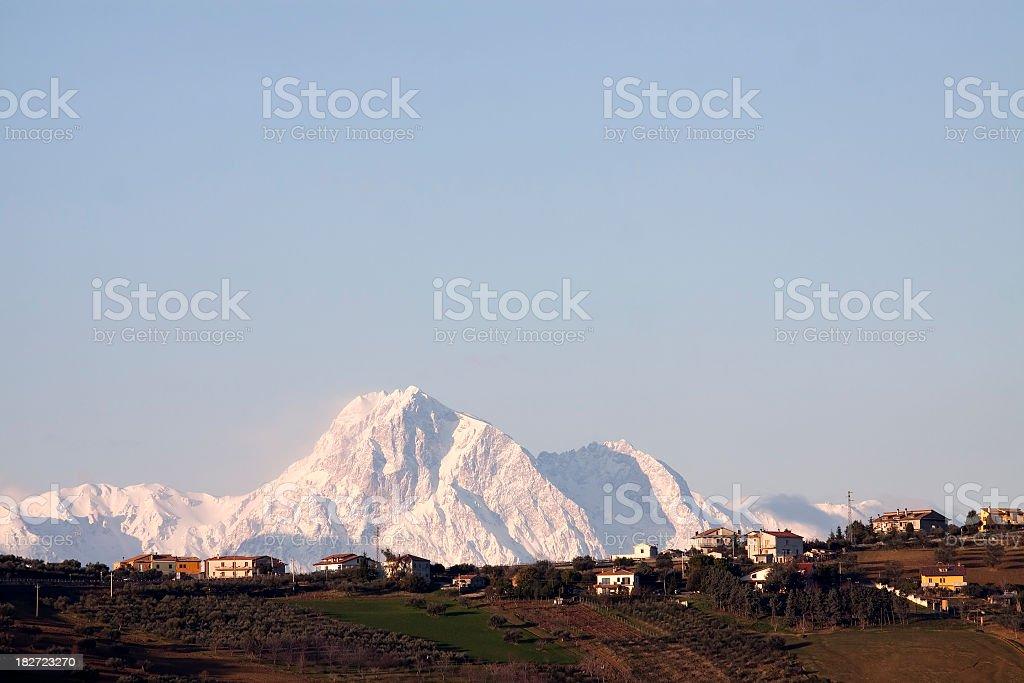 Italian countryside at the dawn stock photo