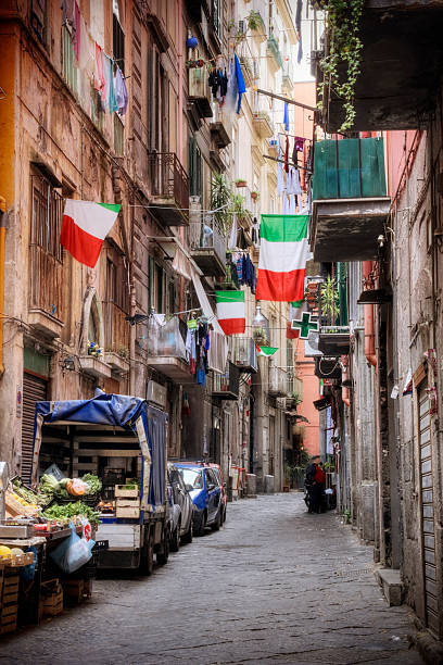 Italian Culture Side street in the historic center of Naples Italy. davelongmedia stock pictures, royalty-free photos & images