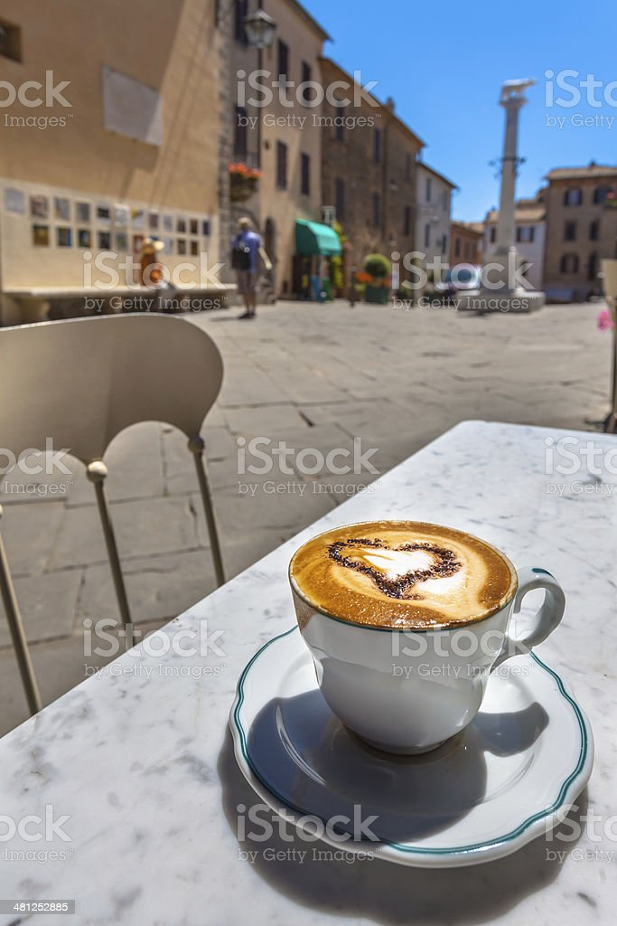 Italian Cup of Coffee at Restaurant Terrace with Street View, stock photo