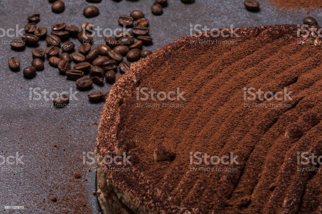 Italian dessert tiramisu on a dark background stock photo