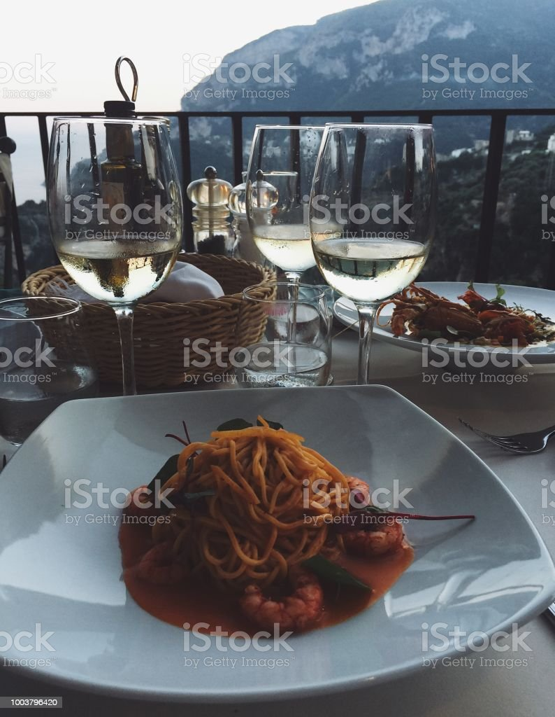 Italian Dinner in Ravello stock photo
