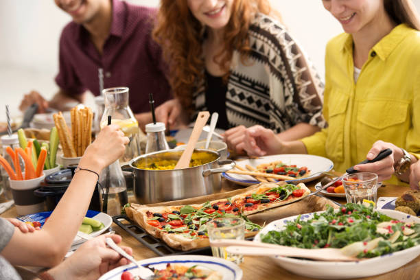 Italian dinner meeting stock photo
