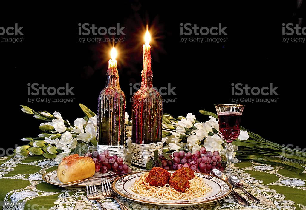 Italian Dinner Table Setting Royalty Free Stock Photo