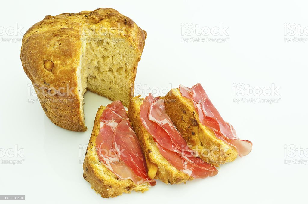 Italian Easter Cheese Pie and salami made with pork neck royalty-free stock photo