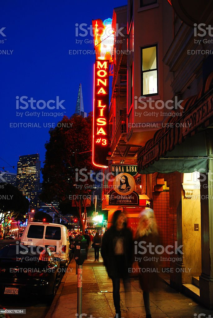 Italian Eateries in San Francisco's North Beach stock photo