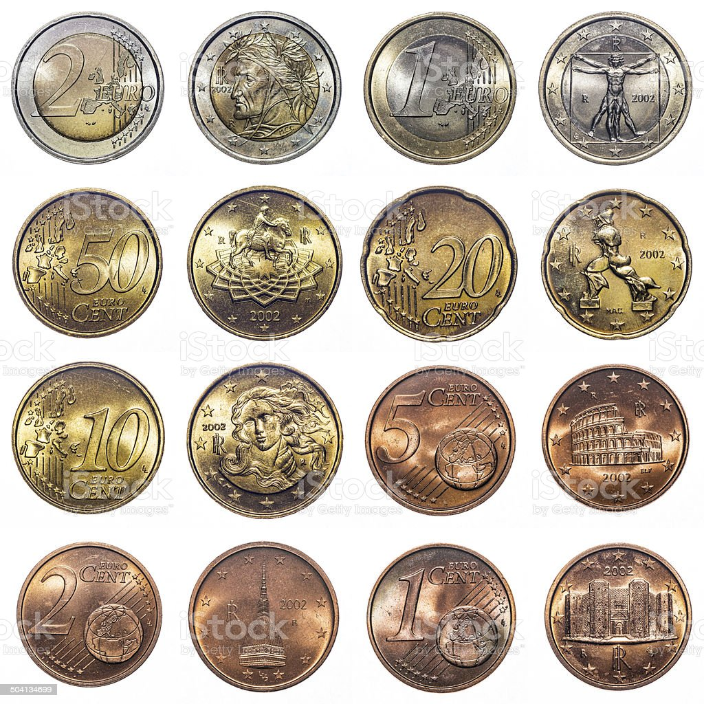 Italian Euro coin collection isolated on white (2002) stock photo