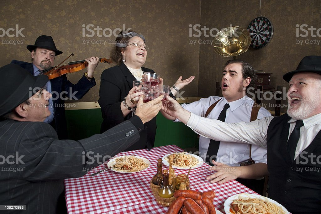 Italian family celebration stock photo