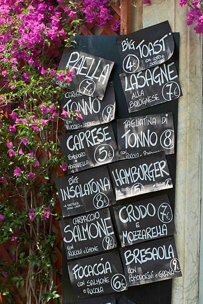 italiano menu fast food su blackboards - bresaola foto e immagini stock