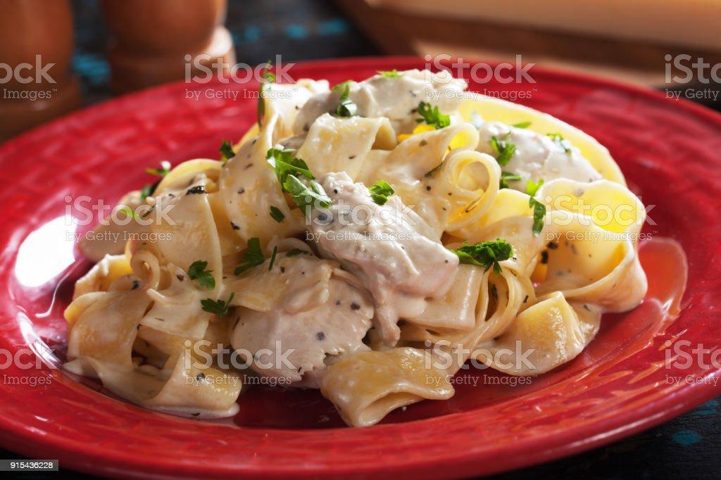 Italian fettuccine alfredo pasta stock photo
