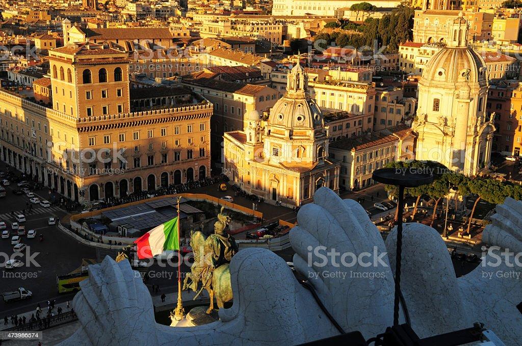 Italian flag, Altare della Patria monument stock photo