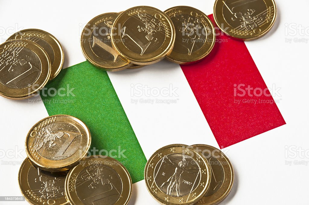 Italian Flag and Euros royalty-free stock photo