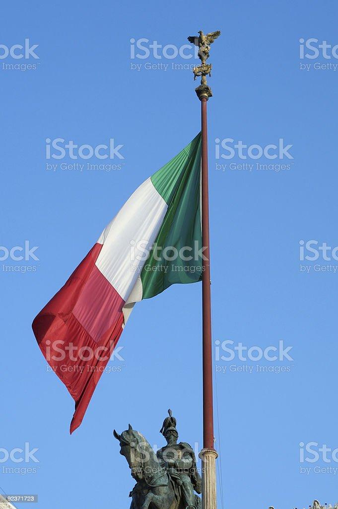 Italienische Flagge und statue Lizenzfreies stock-foto