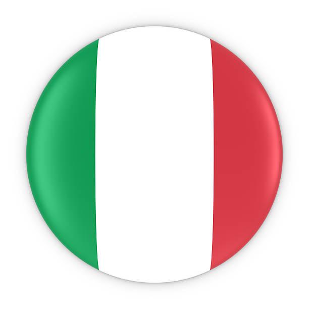 Italian Flag Button - Flag of Italy Badge 3D Illustration stock photo