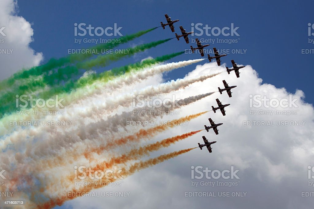 italian flag in the air royalty-free stock photo