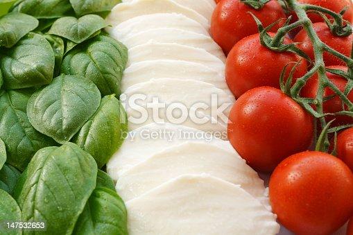 The italian flag (la bandiera italiana) in the three ingredients that form the base of italian cuisine; Basil, Mozzarella, Tomatoes. Verde, bianco e rosso; il Tricolore italiano.