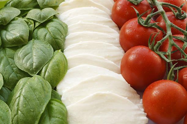 Flaggen der italienischen insalata caprese
