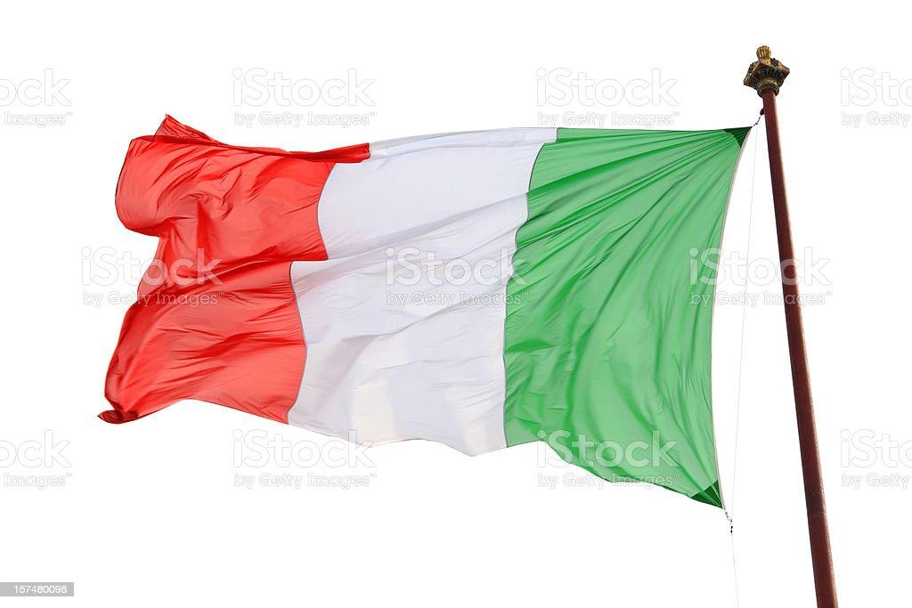 Bandera italiana Aislado en blanco, Italia - foto de stock