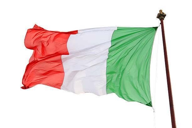 Italienische Flagge, isoliert auf weiss, Italien – Foto