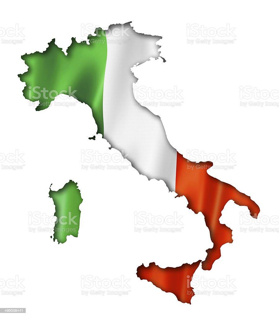 Italian flag map stock photo