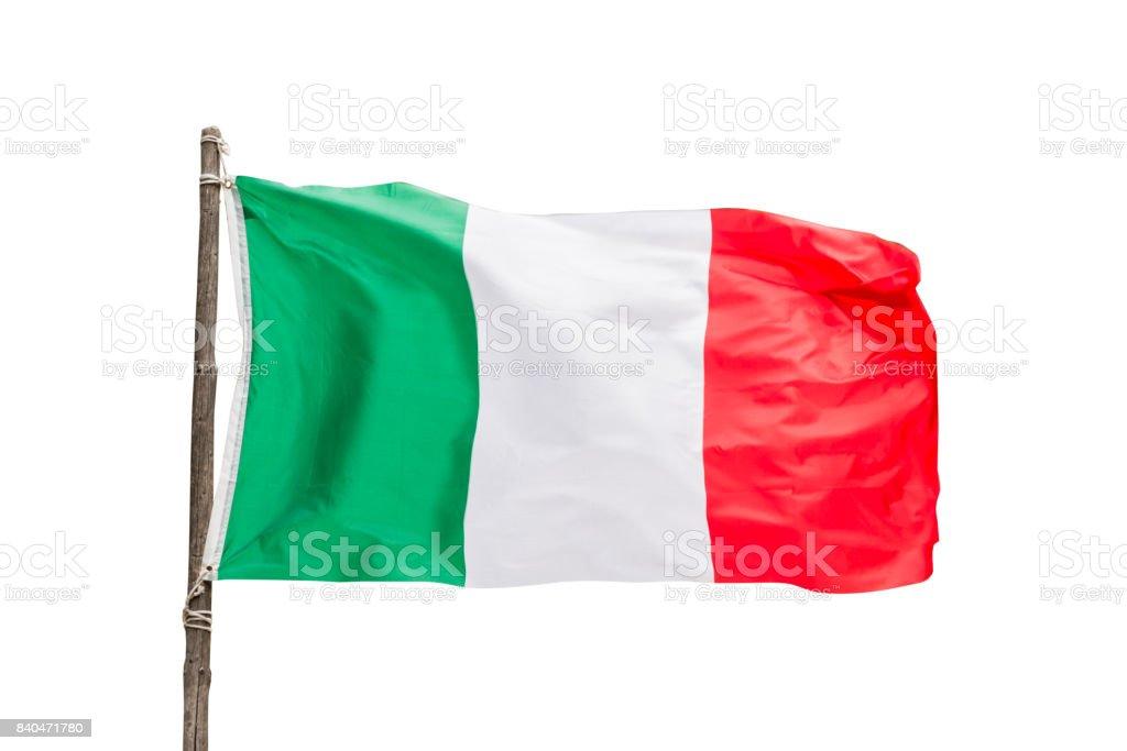 Italian flag on a wooden pole isolated on white background, Italy symbol stock photo