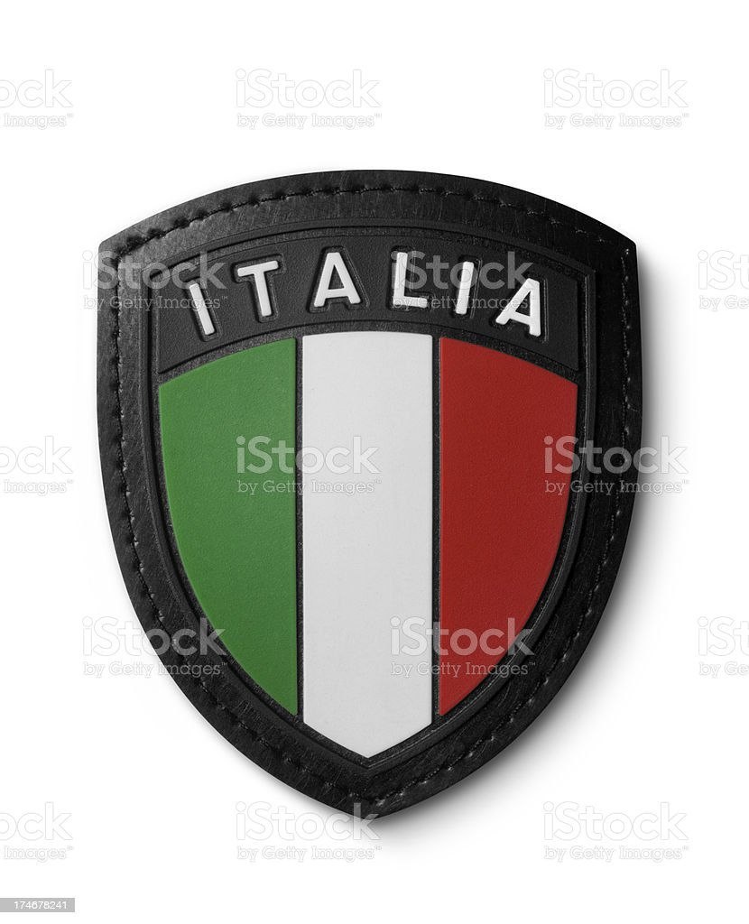 Italian flag shield stock photo
