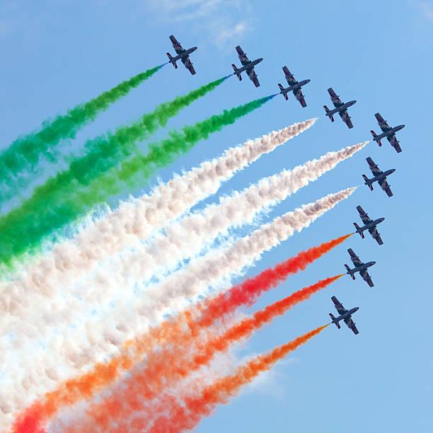 Italian flying team Frecce Tricolori in action stock photo