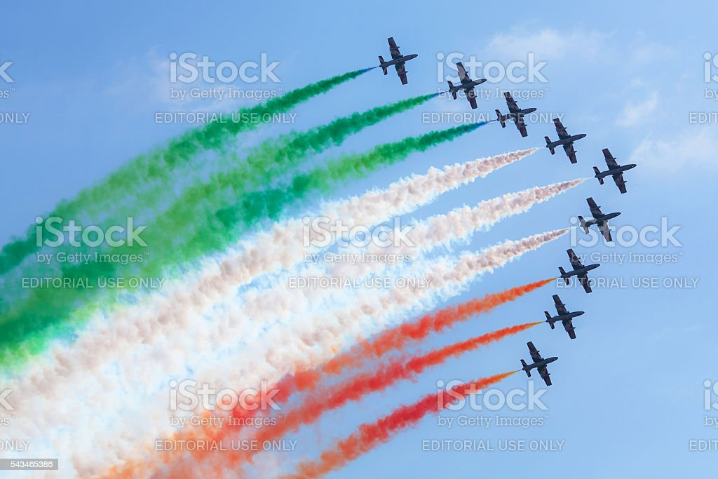 Italian flying team in action stock photo