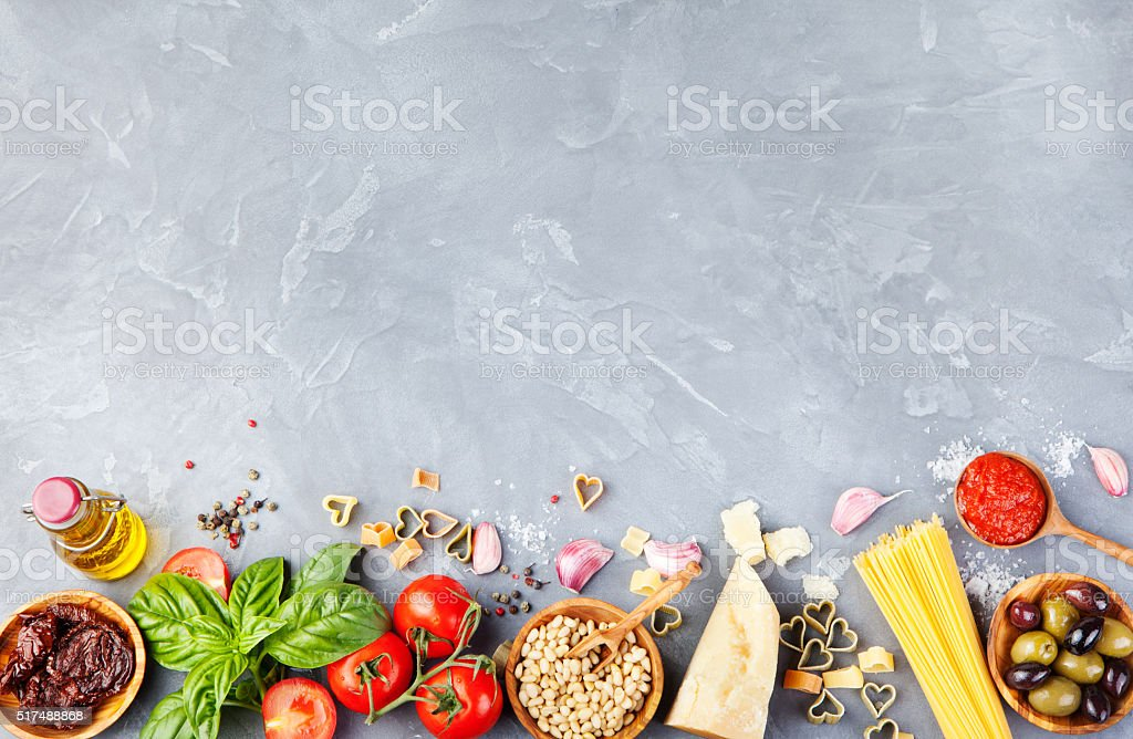 Italian food background on stone table Copy space Top view