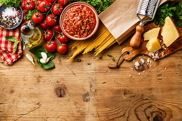 italian food background - italian food stock photos and pictures