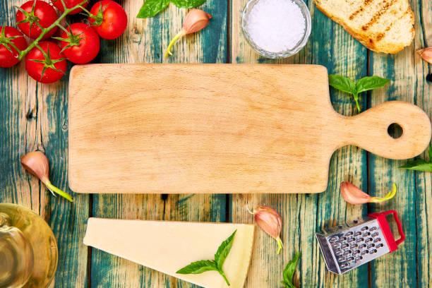 Italienischer Lebensmittelhintergrund. Bereit zum Kochen. Lebensmittelrahmen – Foto