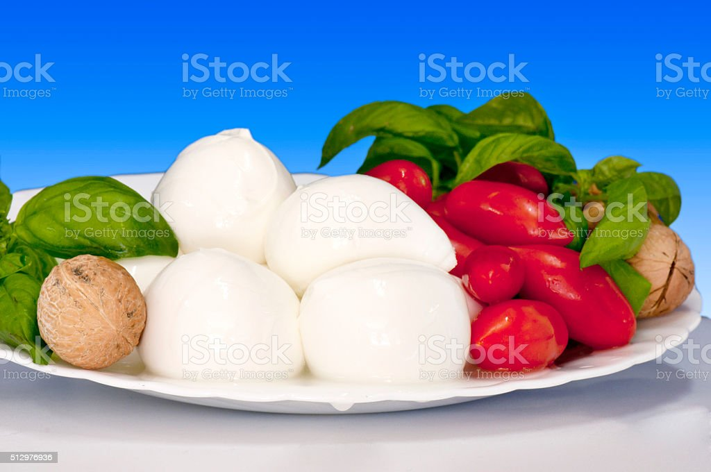 Italian food Bocconcini of buffalo stock photo