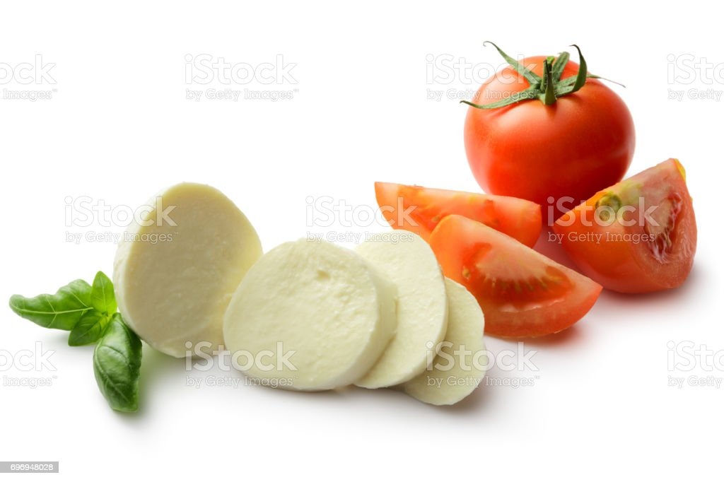 Italian Food: Caprese Salad Ingredients Isolated on White Background stock photo