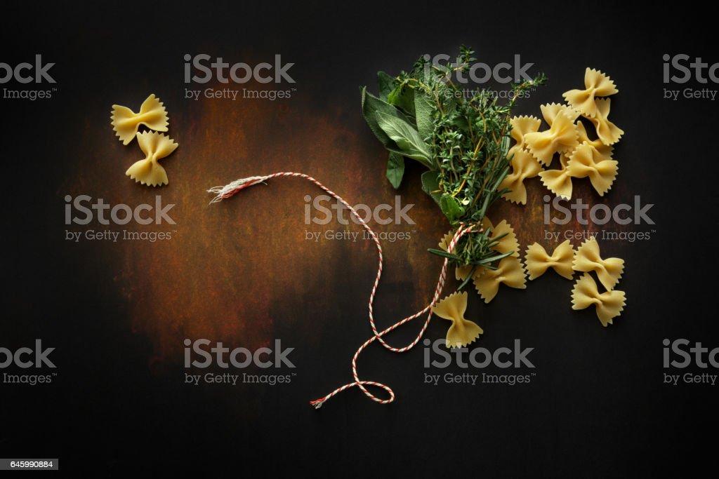 Italian Food: Farfalle and Bouquet Garni Still Life stock photo