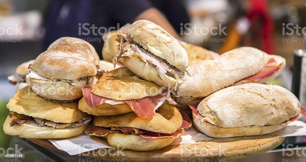 Italian food: ham sandwiches royalty-free stock photo