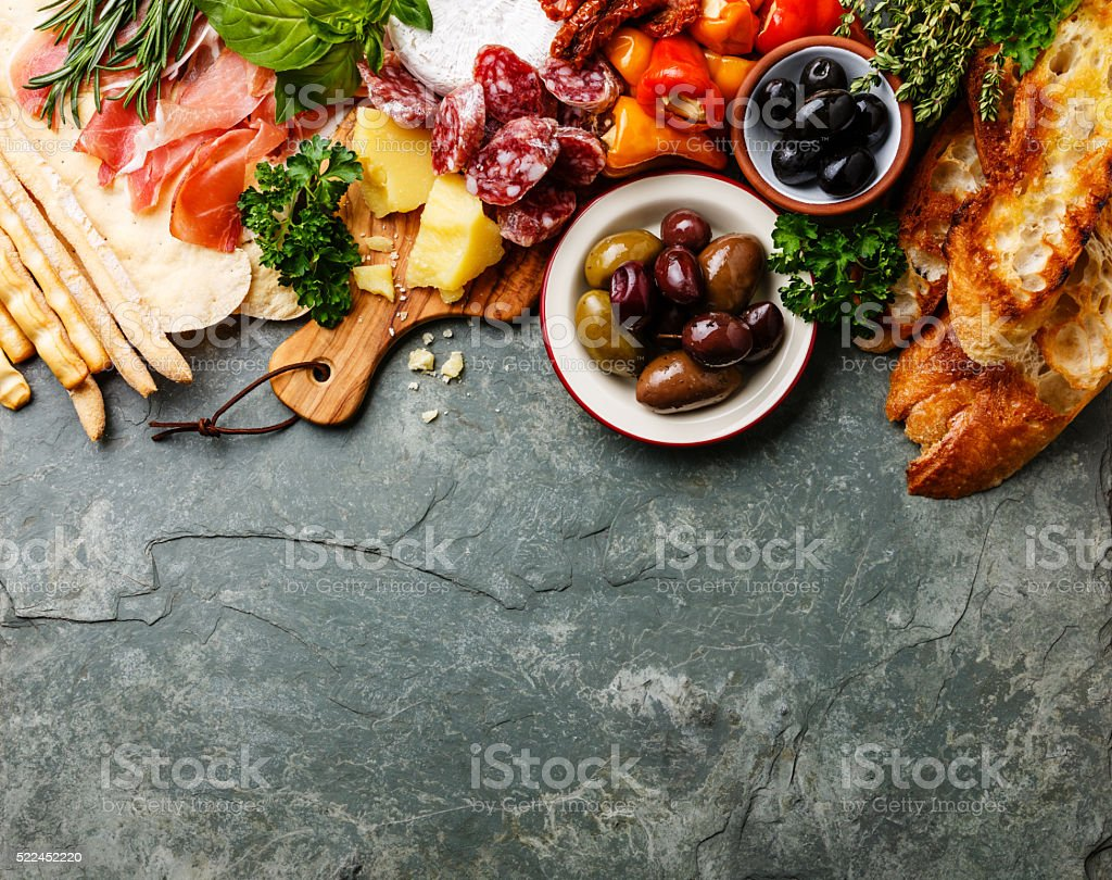 Italian food ingredients background stock photo