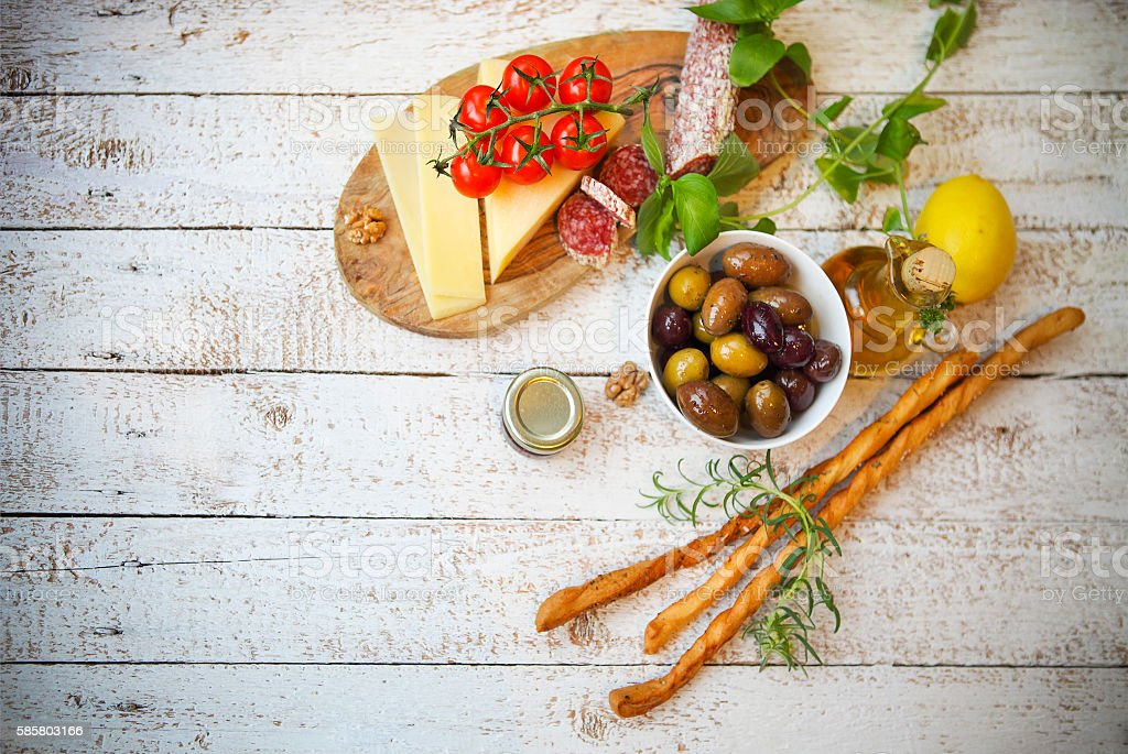 Italian food ingredients on wooden background stock photo