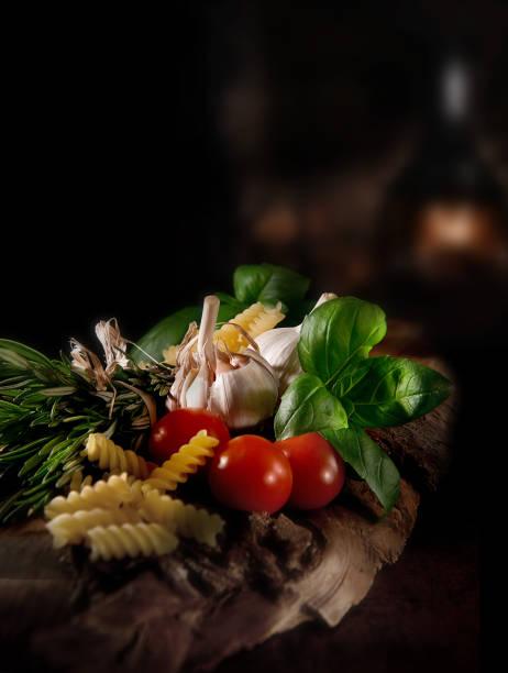 italian food ingredients - pasta deli stock-fotos und bilder