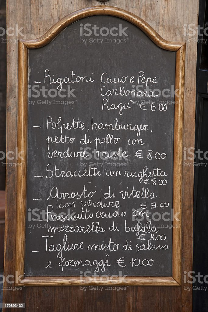 Italian Food Menu royalty-free stock photo