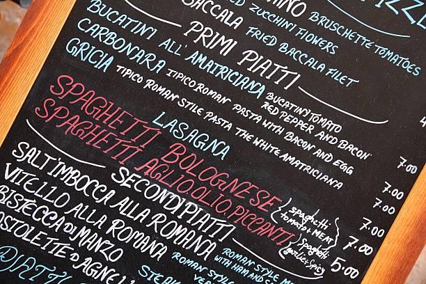 italienische essen - italienische speisekarte stock-fotos und bilder