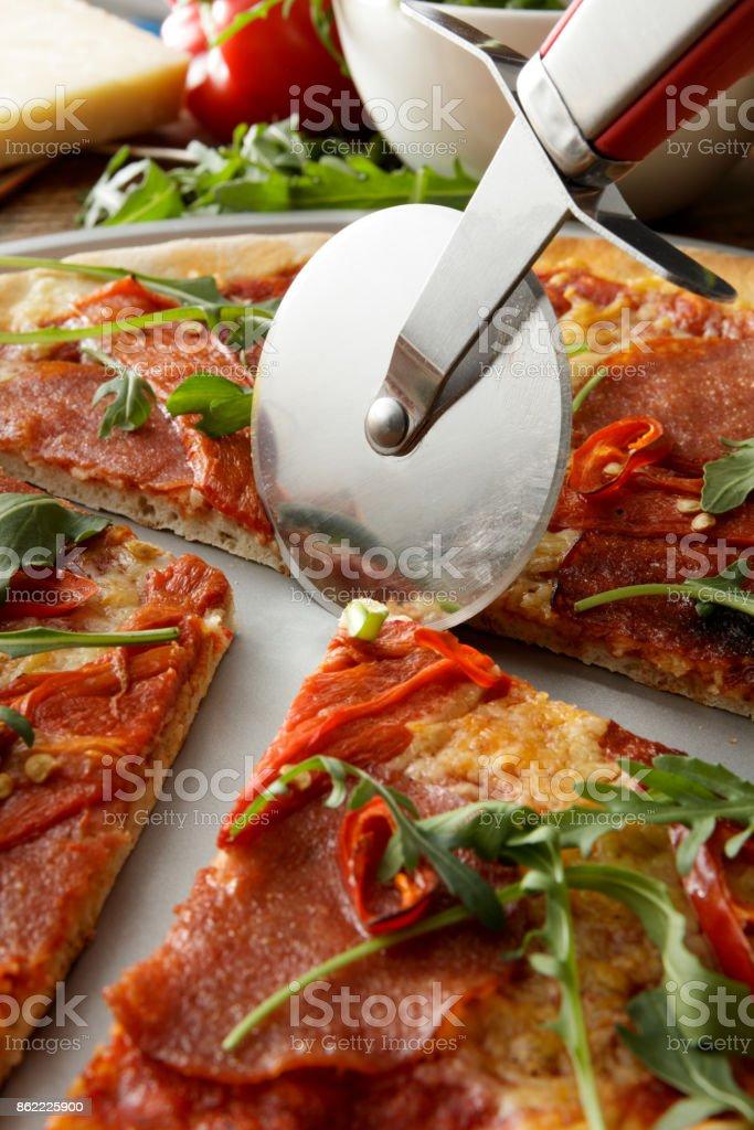 Italian Food: Pizza Diabolo Still Life stock photo