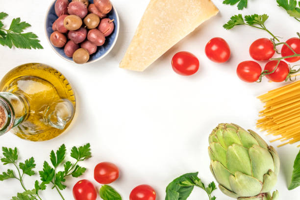 Italian food products on white with copy space - foto stock