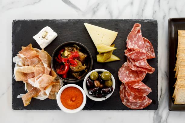 Italian Food - Sopressa And Prosciutto Platter stock photo