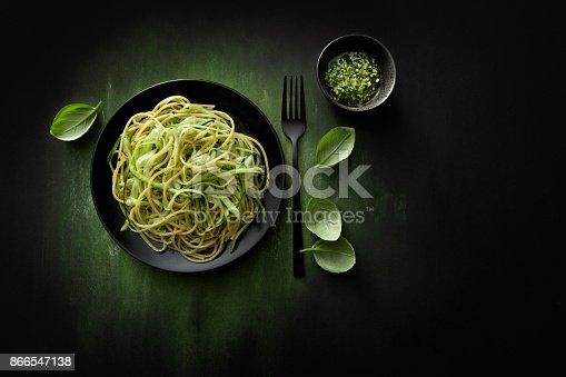 Italian Food: Spaghetti Pesto with Zucchini Still Life