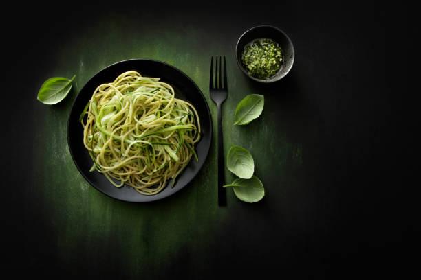 Italian Food: Spaghetti Pesto with Zucchini Still Life stock photo