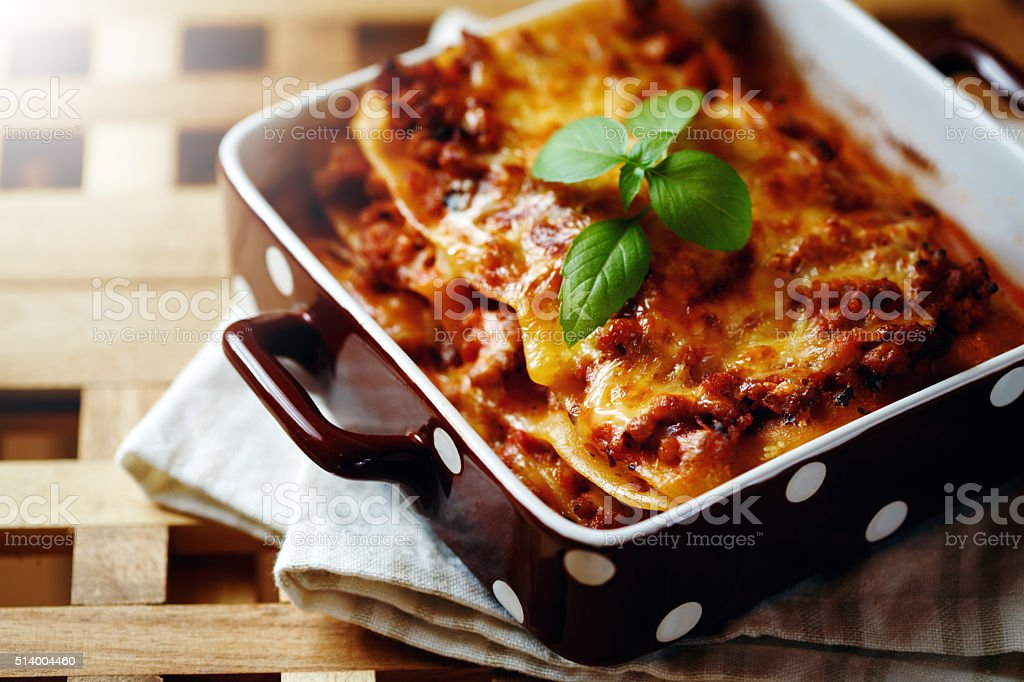Italian Food Style. Lasagna plate. stock photo