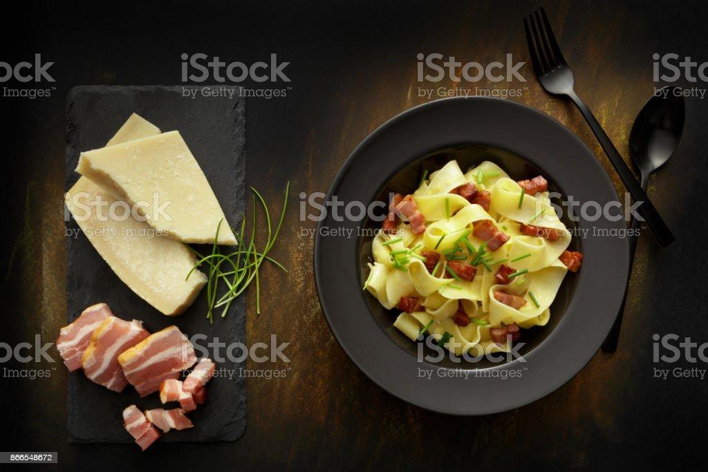Italian Food: Tagliatelle Carbonara Still Life stock photo